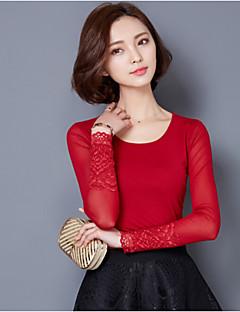 여성의 솔리드 라운드 넥 긴 소매 블라우스,플러스 사이즈 / 섹시 레드 / 블랙 면 / 레이온 봄 얇음