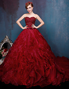 Formal Evening Dress - Vintage Inspired Ball Gown Sweetheart Chapel Train Lace Tulle Charmeuse withBeading Ruffles Sash /