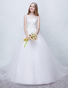 볼 드레스 웨딩 드레스 코트 트레인 스쿱 튤 와 비즈 / 레이스