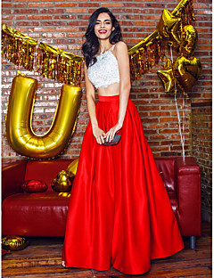 Formal Evening Dress - Two Pieces A-line Spaghetti Straps Ankle-length Satin with Beading / Lace