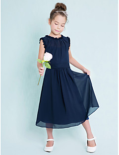 Lanting Bride® Tea-length Chiffon Junior Bridesmaid Dress Sheath / Column Jewel with
