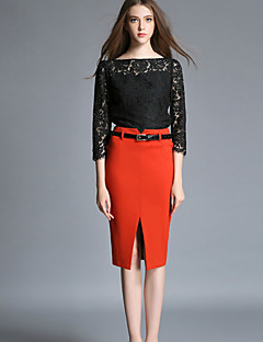 Women's Solid Red / Black Skirts , Casual / Day Knee-length