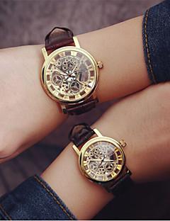 男性 女性用 カップル用 スケルトン腕時計 透かし加工 クォーツ PU バンド ブラック 白