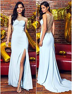 Formal Evening Dress - Sky Blue Trumpet/Mermaid Scoop Sweep/Brush Train Chiffon