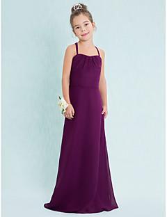 Andar de comprimento Chiffon dama de honra júnior tiras vestido-de uva bainha / coluna espaguete