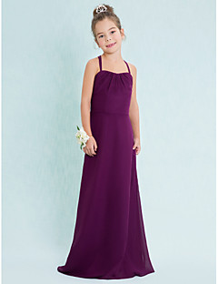 Floor-length Chiffon Junior Bridesmaid Dress-Grape Sheath/Column Spaghetti Straps