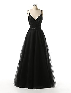 Serata formale Vestito Linea-A Con bretelline Lungo Tulle con Perline