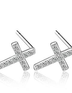Naisten Niittikorvakorut Cubic Zirkonia Muoti pukukorut Sterling-hopea Zirkoni Cubic Zirkonia Cross Shape Korut Käyttötarkoitus Häät