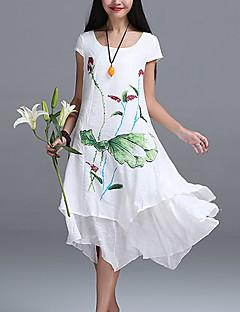 Damen Kleid - Lose Street Schick Blumen Asymmetrisch Leinen Rundhalsausschnitt