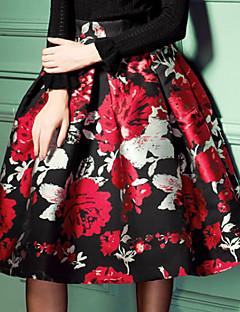 Women's Floral Black Skirts,Street chic Midi