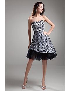 LAN TING BRIDE א-סימטרי סטרפלס שמלה לשושבינה - בלוק צבע ללא שרוולים תחרה