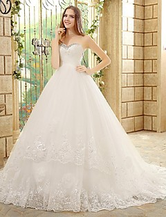 A-line Wedding Dress - Ivory Court Train Strapless Tulle