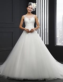A-라인 웨딩 드레스 채플 트레인 쥬얼리 튤 와 아플리케