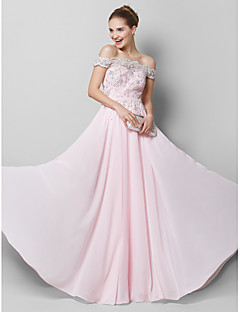 TS Couture Prom Formal Evening Dress - Sparkle & Shine A-line Off-the-shoulder Floor-length Chiffon with Appliques