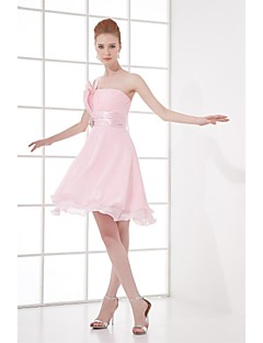 Lanting Bride® Knee-length Chiffon Bridesmaid Dress A-line One Shoulder with Crystal Detailing / Draping