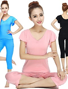 Yoga Suit Sports Causal Running Clothing Fitness Clothes Yoga Wear Gear Suits = Short Sleeve Top + Long Trousers