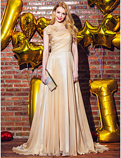Formal Evening Dress - Champagne A-line Scoop Sweep/Brush Train Chiffon