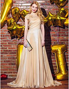 저녁 정장파티 드레스 - 샴페인 A라인 스위프/브러쉬 트레인 스쿱 쉬폰