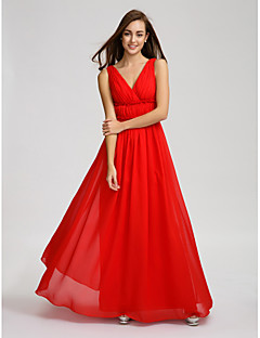 Lanting Bride® Floor-length Chiffon Bridesmaid Dress - A-line V-neck with Draping / Side Draping / Criss Cross