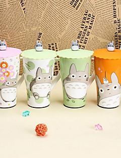 6-Zoll-japanischen Comic-totoro Tasse Keramik-Becher mit Deckel (zufällige Farbe)