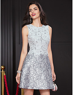 TS Couture Cocktail Party Dress - Print A-line Jewel Short/Mini Lace / Polyester