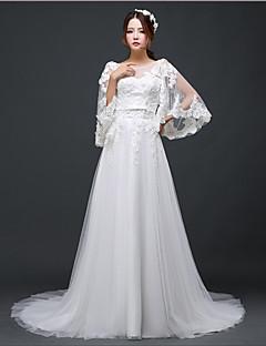 A-라인 웨딩 드레스 코트 트레인 스쿱 튤 와 비즈 / 크리스탈 / 레이스