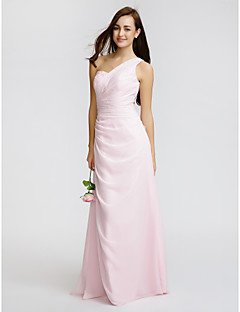 Lanting Bride® Floor-length Chiffon Bridesmaid Dress Sheath / Column One Shoulder with Beading / Side Draping