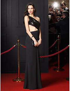 TS Couture Formal Evening Dress - Black Trumpet/Mermaid One Shoulder Floor-length Chiffon / Sequined