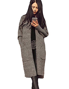 Women's Solid Brown / Gray Cardigan , Sexy / Simple Long Sleeve