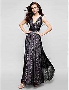 Formal Evening / Black Tie Gala Dress Sheath / Column V-neck Ankle-length Lace with Lace