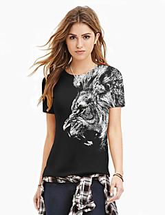 여성의 플로럴 라운드 넥 짧은 소매 티셔츠,스트리트 쉬크 캐쥬얼/데일리 멀티 색상 폴리에스테르 여름 중간