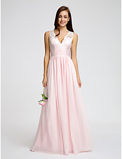 LAN TING BRIDE Floor-length Chiffon Bridesmaid Dress - A-line V-neck with Lace / Sash / Ribbon