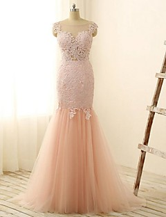 Sheath/Column Wedding Dress - Blushing Pink Floor-length Jewel Lace / Tulle