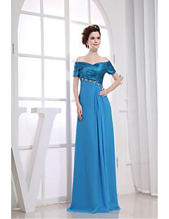 Vestido-Azul Festa Formal Tubinho Decote V Longo Chiffon / Charmeuse