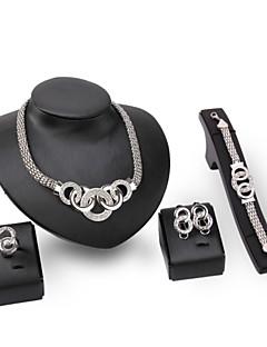 Mulheres Conjunto de Jóias Imitação de Diamante Gema Vintage Bijuterias Destaque bijuterias Strass Prata Chapeada Jóias Colares Brincos