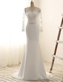 Trumpet / Mermaid Wedding Dress See-Through Court Train V-neck Chiffon Lace with Sequin Appliques Beading Lace Sash / Ribbon