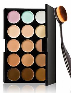 15 colori crema contorno viso trucco correttore palette + strumento fondotinta trucco pennello ovale