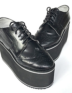 Handmade British Style Bullock  Punk Lolita Leather 8 Wedge Black Lolita Shoes