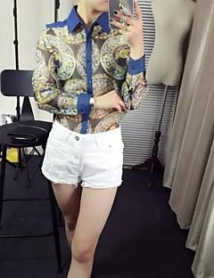 Langærmet Kvinders Blomst Krave Skjorte Polyester