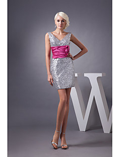 Cocktail Party Dress-Silver Sheath/Column V-neck Short/Mini Sequined