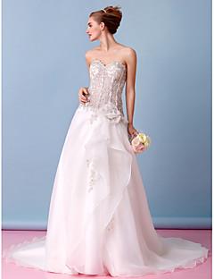 Lanting A-line Wedding Dress - Ivory Court Train Strapless Organza