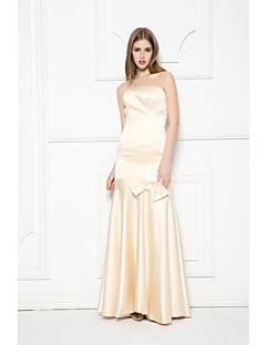 저녁 정장파티 드레스-샴페인 트럼펫/머메이드 바닥 길이 끈없는 스타일 새틴