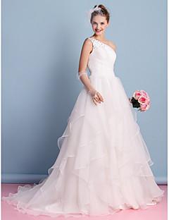 robe de mariée une ligne - train tribunal en ivoire organza épaule