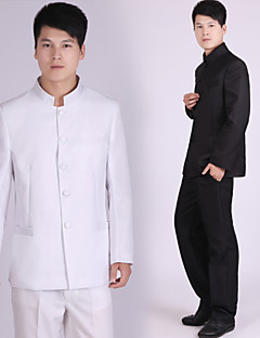 Suits Tailored Fit Mandarin Collar Single Breasted More-Button Polyester Solid 2 Pieces Black / White