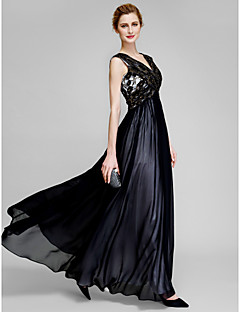 Lanting Sheath/Column Mother of the Bride Dress - Black Ankle-length Sleeveless Chiffon / Lace
