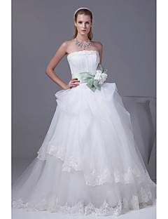 A-line Wedding Dress Chapel Train Strapless Organza / Satin with Appliques / Beading / Bow / Ruche / Sash / Ribbon