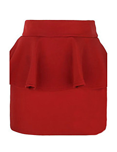 Women's Solid Blue / Red / Black Skirts,Sexy Above Knee