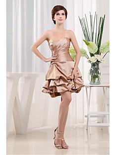 שמלה מסיבת קוקטייל-שמפניה גזרת A-מחשוף לב-קצר\מיני-סאטן