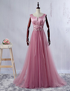 저녁 정장파티 드레스-블러슁 핑크 볼 드레스 바닥 길이 V-넥 새틴 / 튤