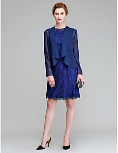 Lanting Sheath/Column Mother of the Bride Dress - Dark Navy Knee-length Long Sleeve Chiffon / Lace